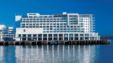 The Hilton Hotel Auckland waterfront.