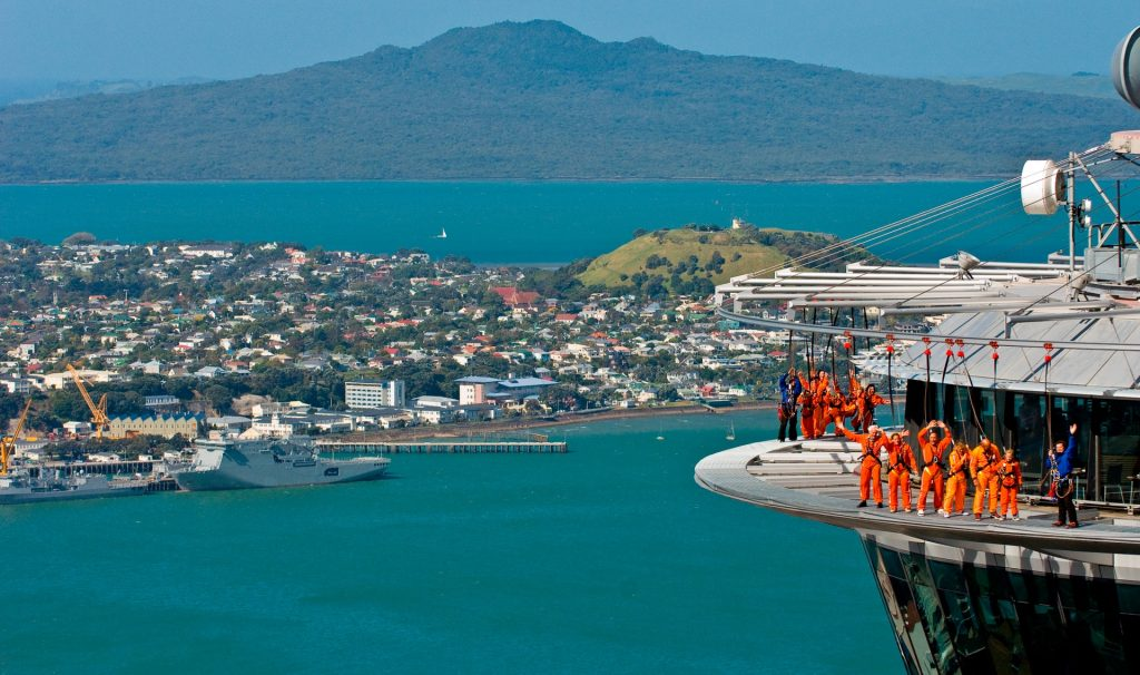 view of skytower with Devonport and Rangitoto in the background