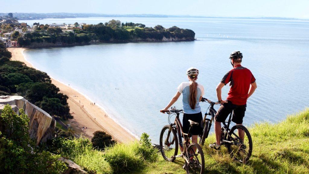 Mountain biking North Head, Devonport, Auckland, New Zealand