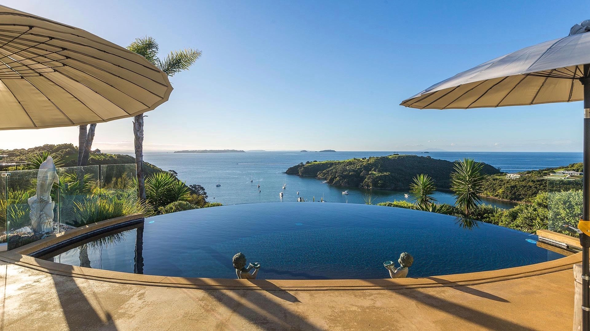 Incredible view of Hauraki Gulf from infinity pool at 5 Star Delamore Lodge Hotel on Waiheke