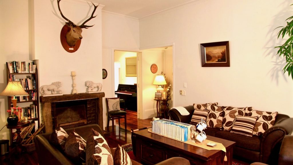 Devereux Boutique Hotel lounge with mounted stags head on wall