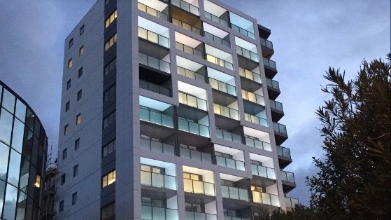 Haka Hotel Suites Auckland City exterior at night