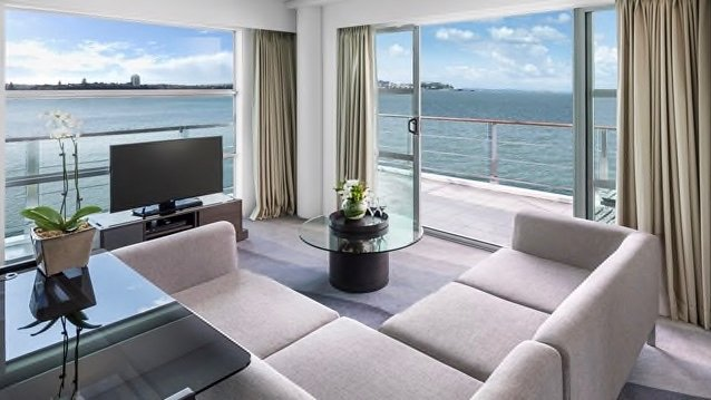 View from Hilton 5 star hotel room in Auckland waterfront