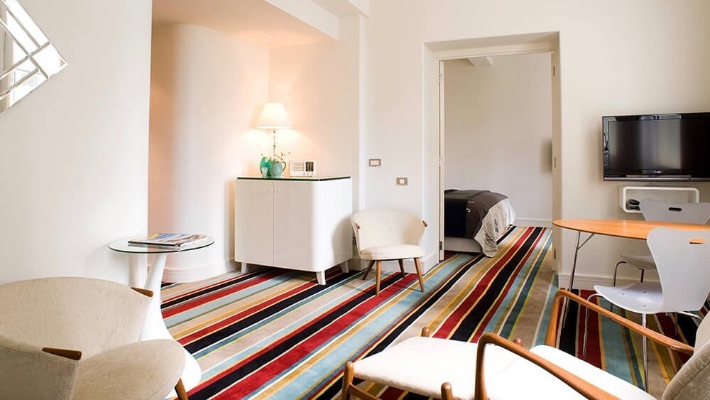 unique striped carpet in 5 star boutique Hotel DeBrett