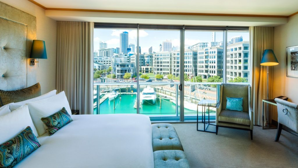 Romantic Marina View Room Sofitel Viaduct Harbour 5 star luxury hotel room
