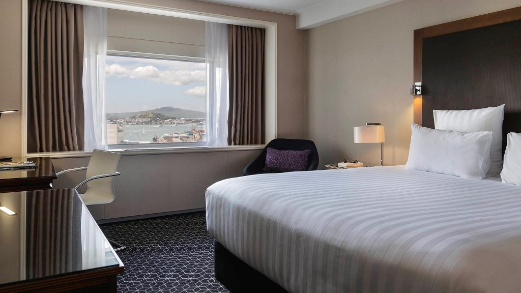 View of Rangitoto Island from the window of a 5 star hotel suite at Pullman Hotel Auckland