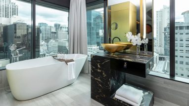 SO/ Auckland Hotel bath with amazing city views