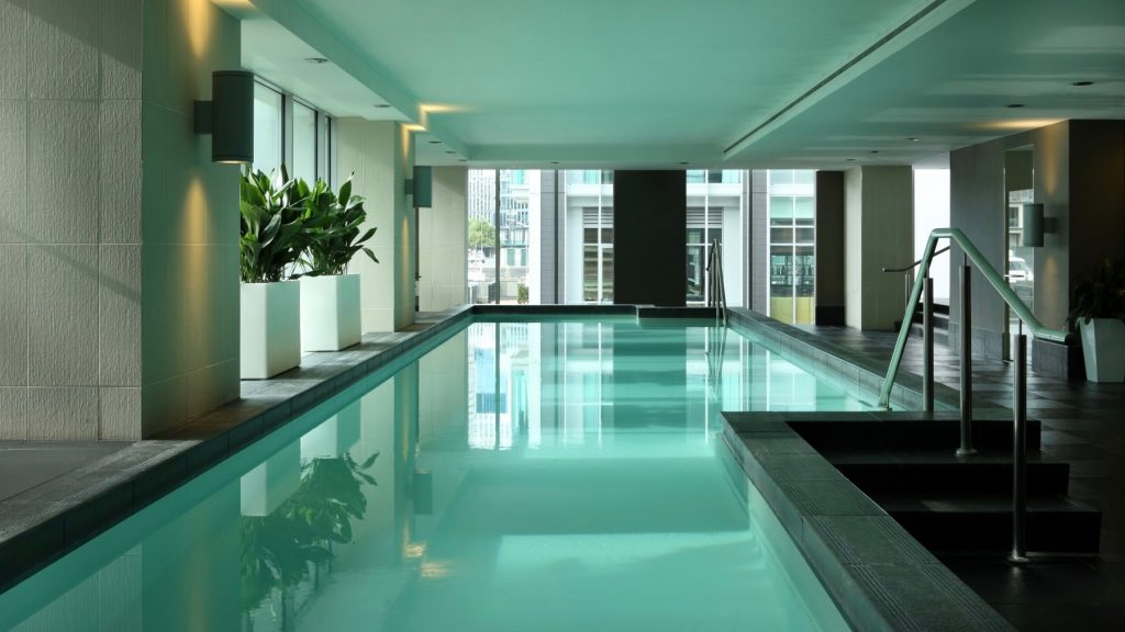 5 star hotel pool at Sofitel Auckland Viaduct Harbour
