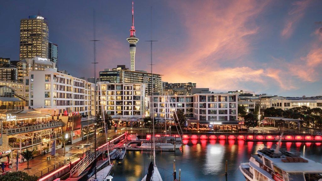 The Sebel Hotel at Viaduct Harbour in the evening