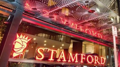 5 star stamford plaza hotel exterior at night in Auckland's CBD