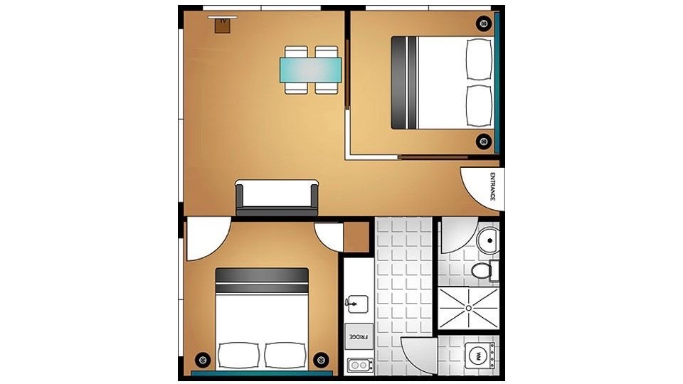 the quadrant 2 bedroom executive suite floorplan