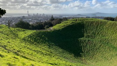 Mt Eden Crater City and Rangitoto Island views