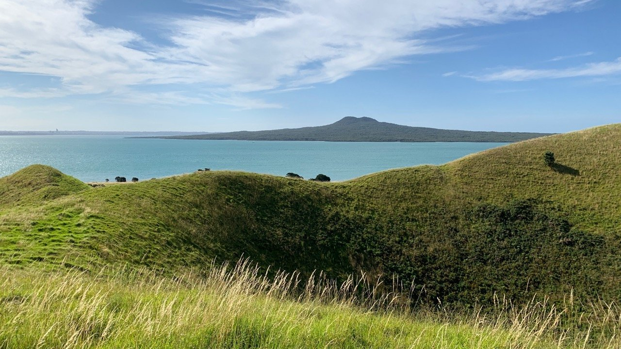 browns island crater and view to Rangitoto Island