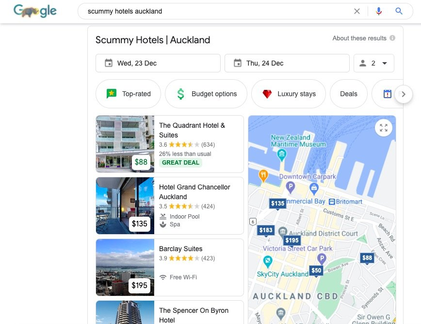 Scummy Hotels Auckland