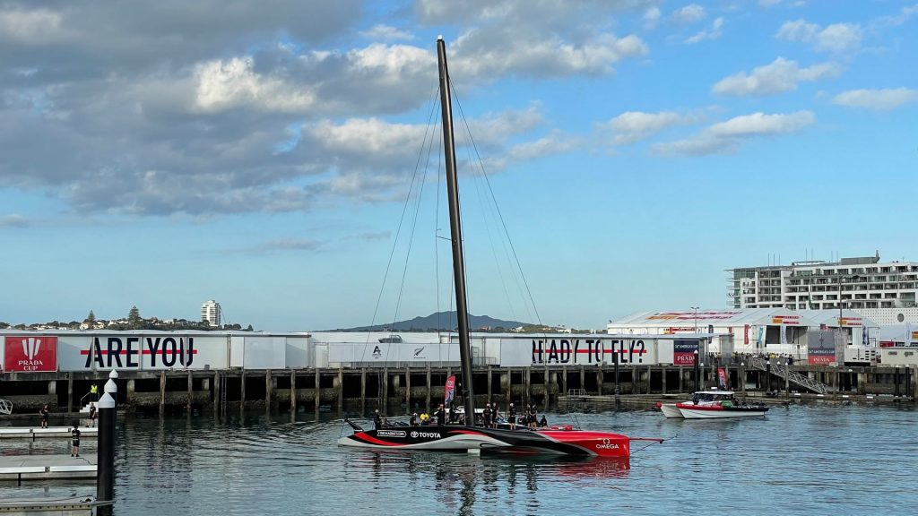 Team New Zealand America's Cup Yacht in Viaduct Harbour